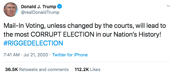 Το επίμαχο τουίτ του Τραμπ που αναφέρεται σε νοθεία εκλογών