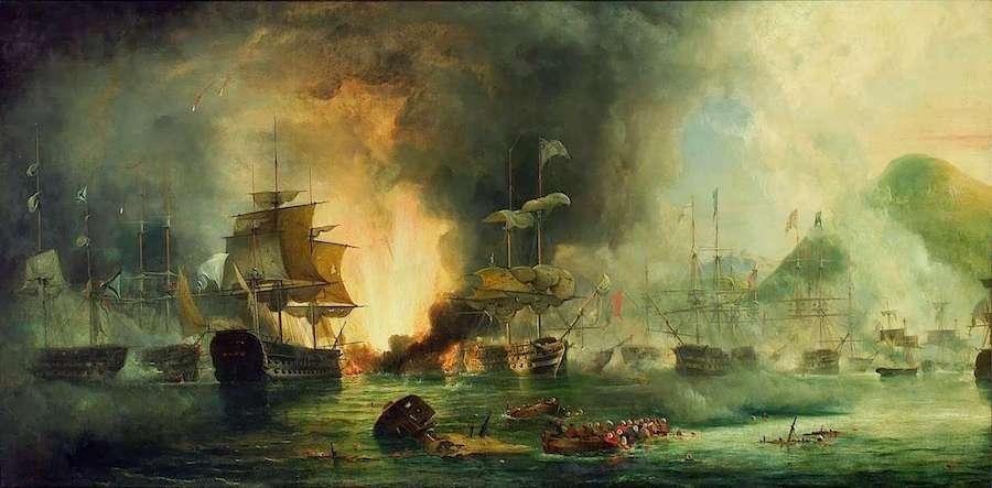 Η ναυμαχία του Ναυαρίνου, απεικόνιση σε Πίνακα